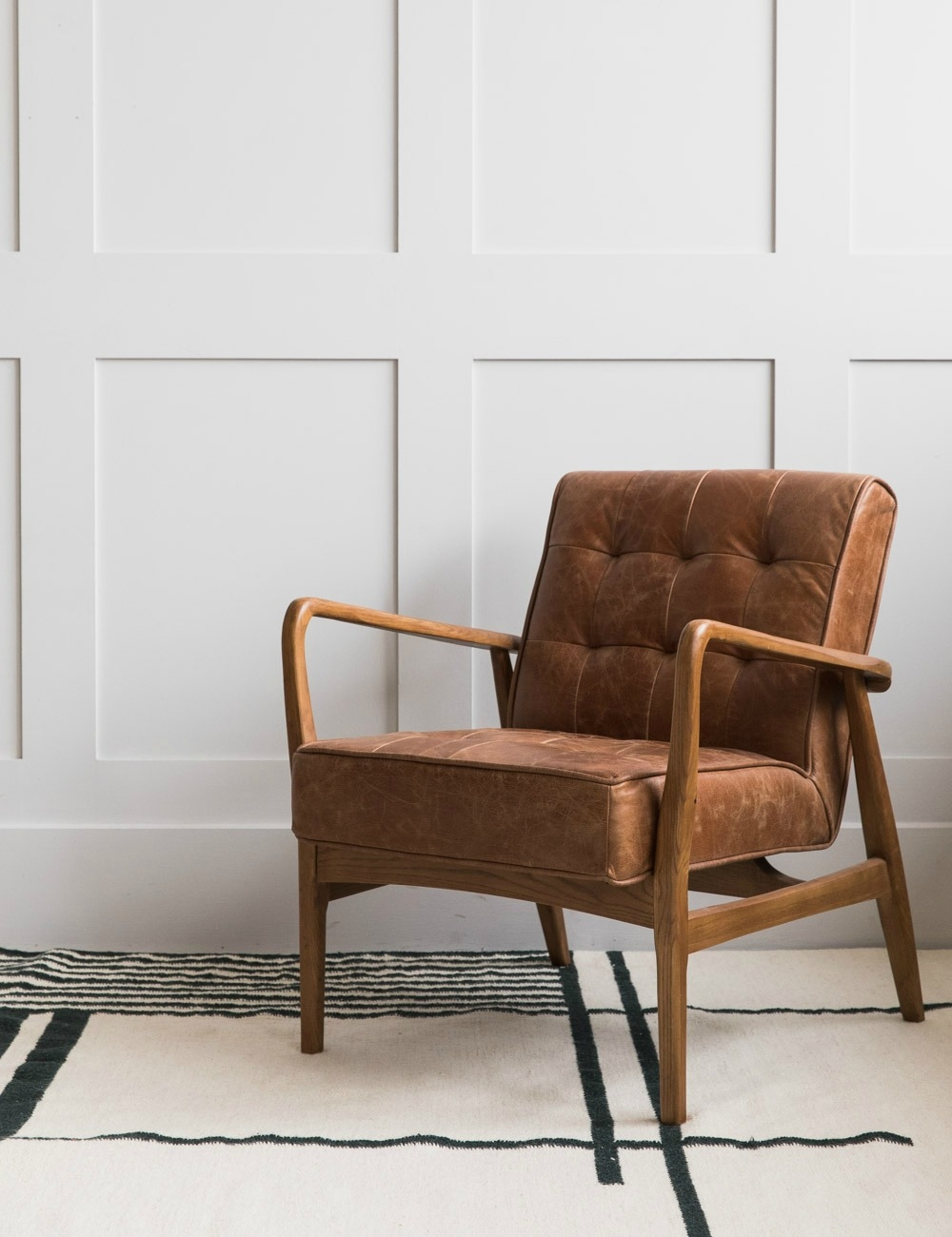 Mid Century Button And Stud Brown Leather Armchair Rose Grey