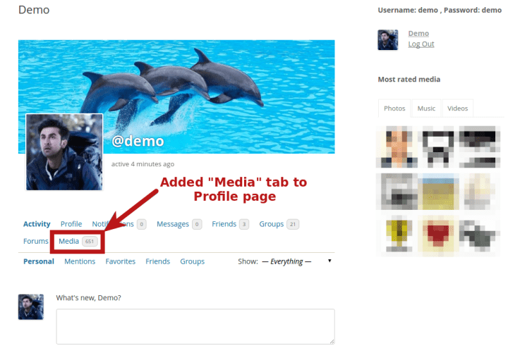 Added media tab in user's profile page