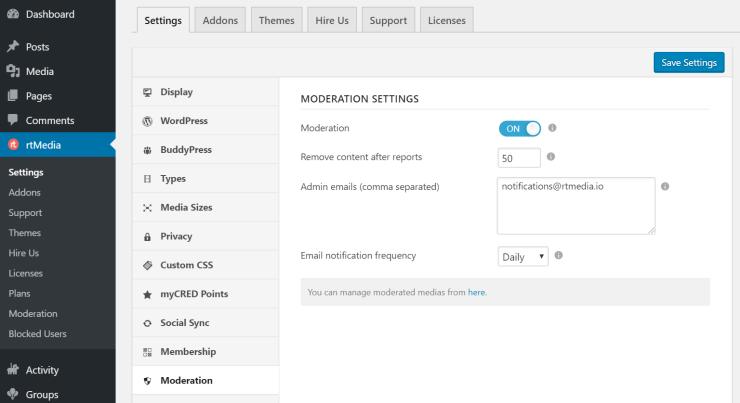 rtmedia moderation settings