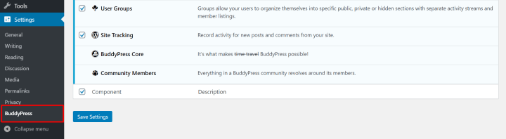 buddypress settings