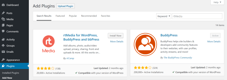 install and activate rtmedia from wordpress dashboard