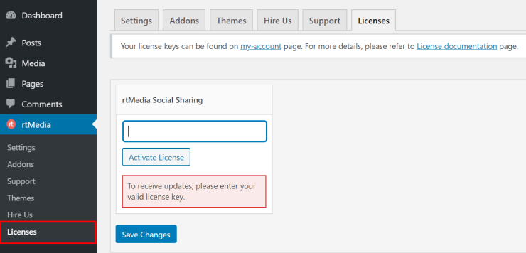 activate rtmedia social sharing addon with license key