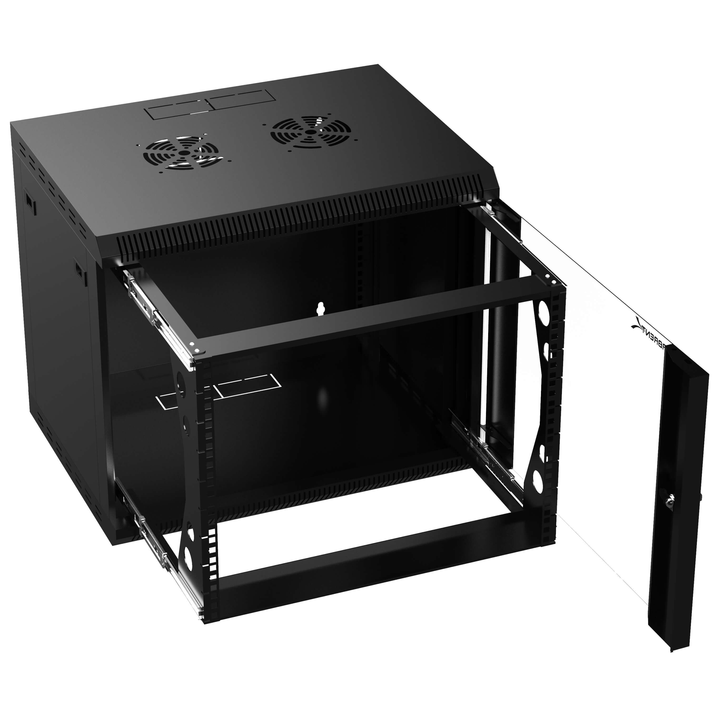 9u it wall mount rack enclosure 19 inch black server cabinet with locking glass door and pull out drawer ct powg