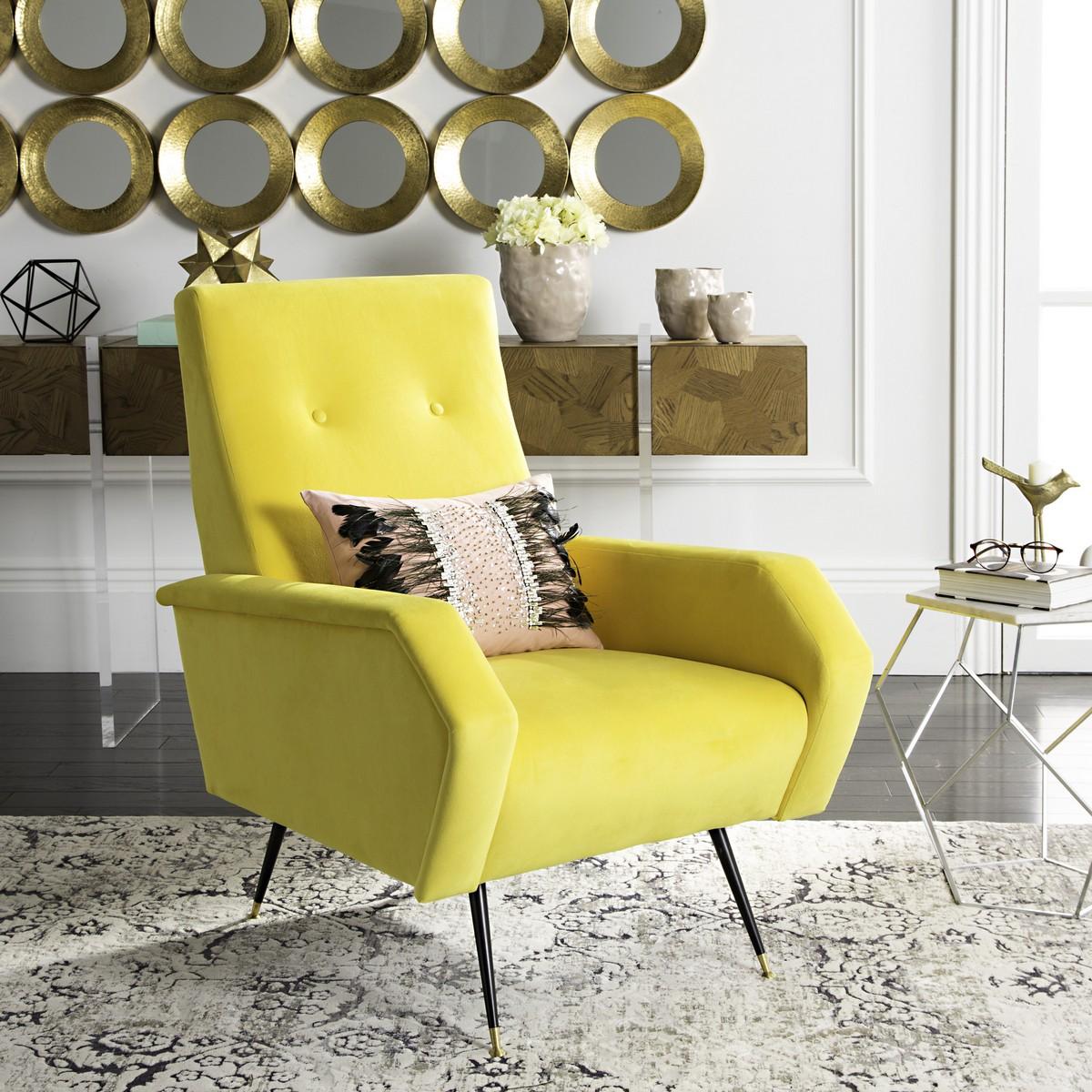 Yellow Velvet Accent Chair