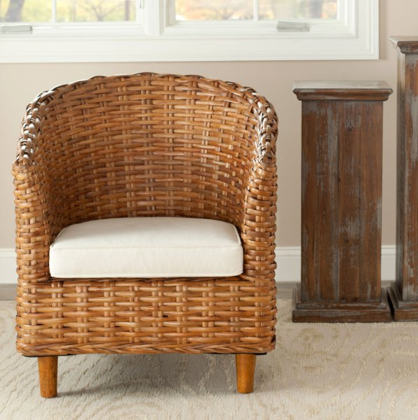 FOX6501A Accent Chairs   Furniture by Safavieh OMNI RATTAN BARREL CHAIR FOX6501A ACCENT CHAIRS