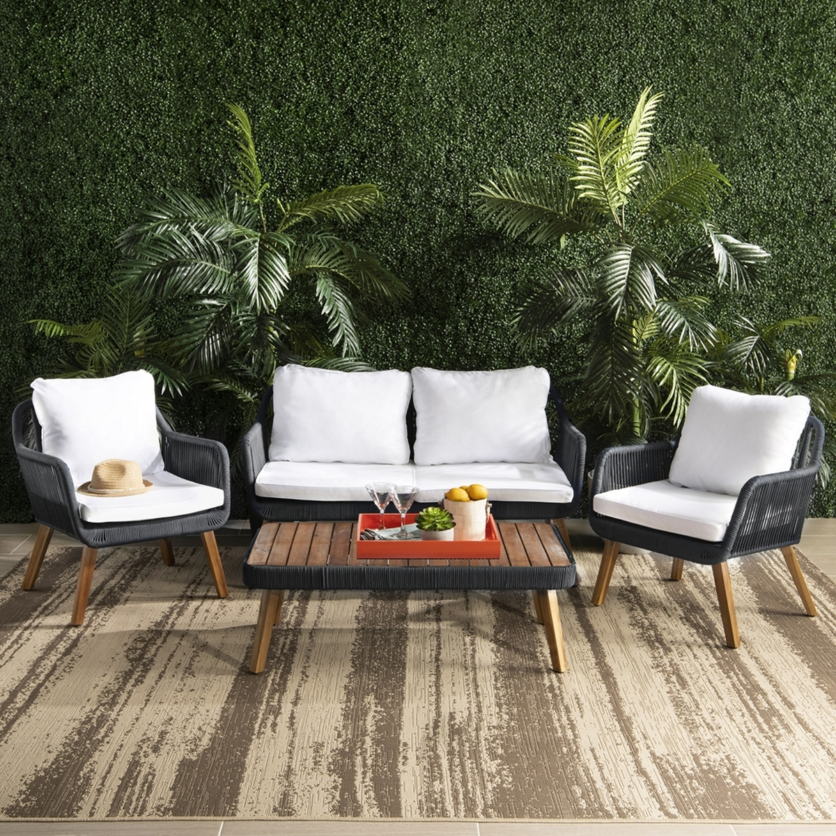 PAT7049B Patio Sets - 4 Piece - Furniture by Safavieh on Safavieh Raldin  id=77544