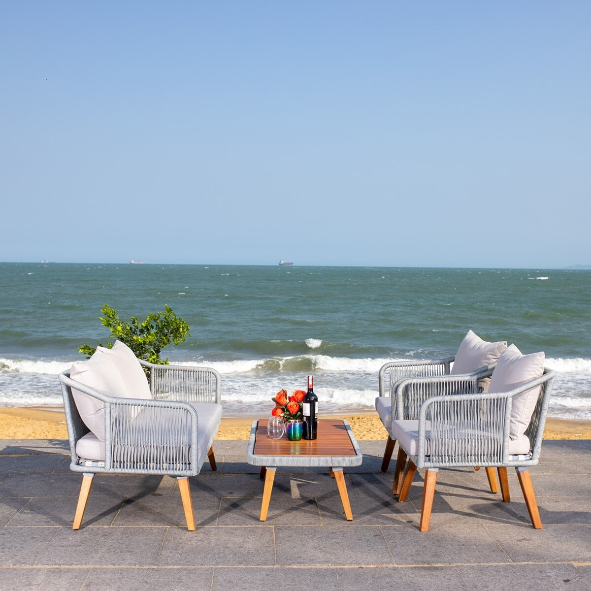 PAT7049C Patio Sets - 4 Piece - Furniture by Safavieh on Safavieh Raldin  id=85571