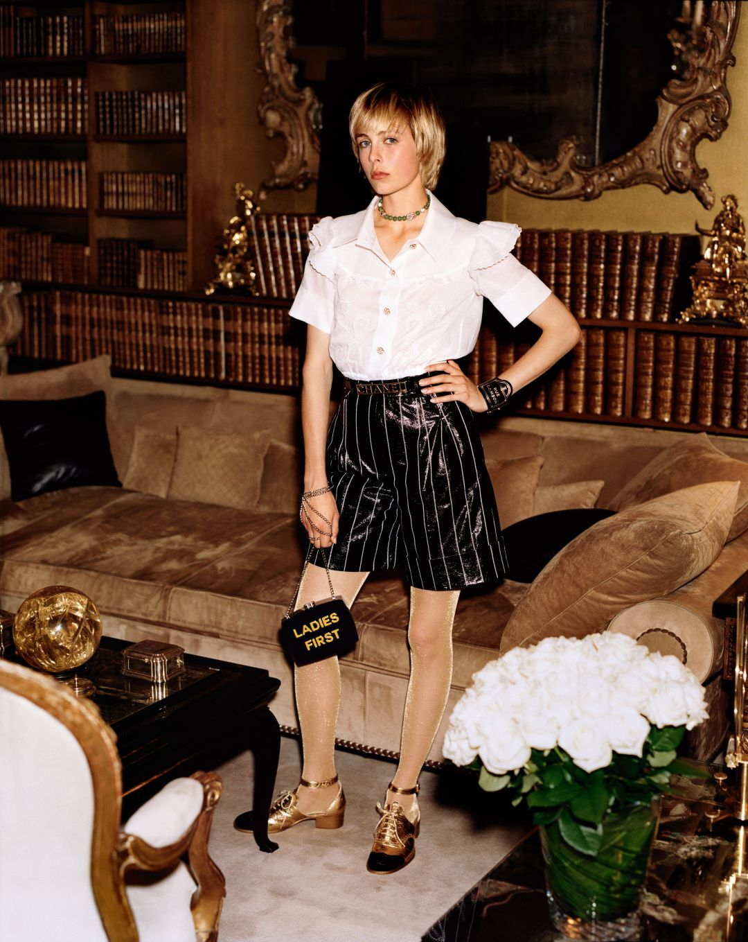 Edie Campbell poses in Chanel