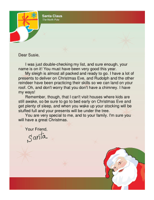 Letter From Santa To Child Whose House Has No Chimney