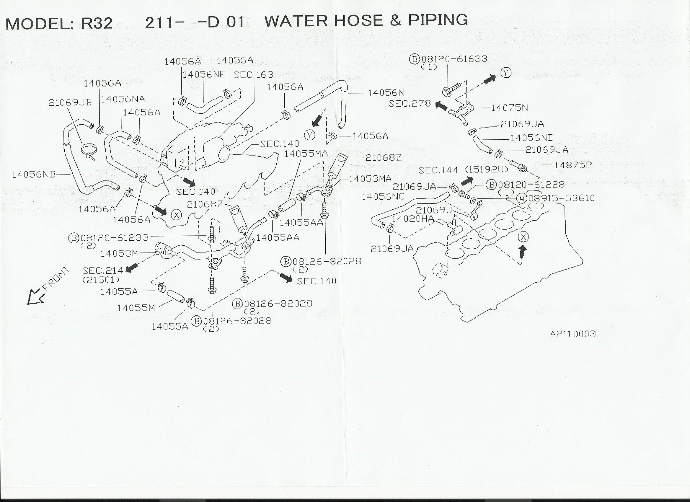 Rb20det Heater Hose Diagrams With Nissan Part Numbers