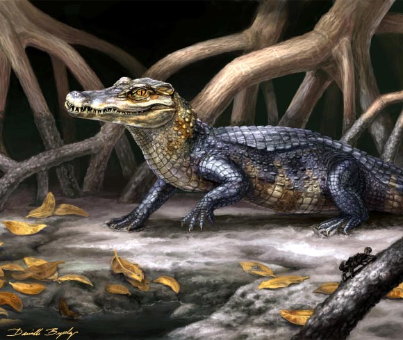A life reconstruction of Culebrasuchus mesoamericanus, one of two newly discovered species from the early Miocene in Panama / Danielle Byerley/ Florida Museum of Natural History