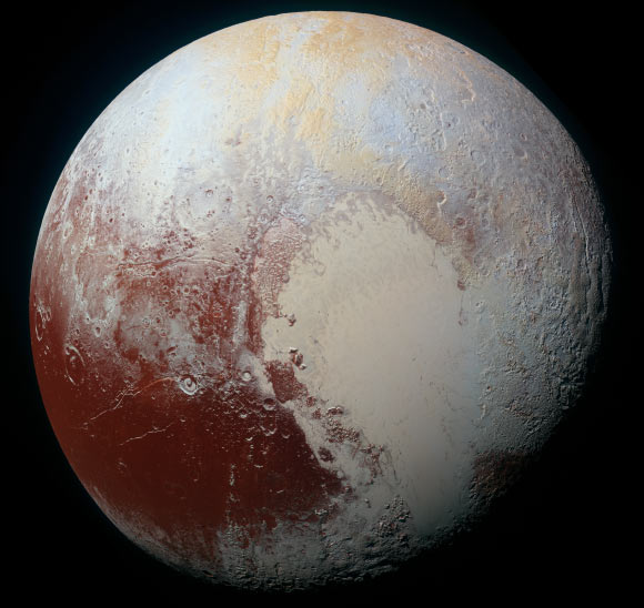 This high-resolution image of Pluto was taken by New Horizons on July 14. Pluto's surface sports a remarkable range of subtle colors, enhanced in this view to a rainbow of pale blues, yellows, oranges, and deep reds. Many landforms have their own distinct colors, telling a complex geological and climatological story that scientists have only just begun to decode. Image credit: NASA / Johns Hopkins University Applied Physics Laboratory / Southwest Research Institute.