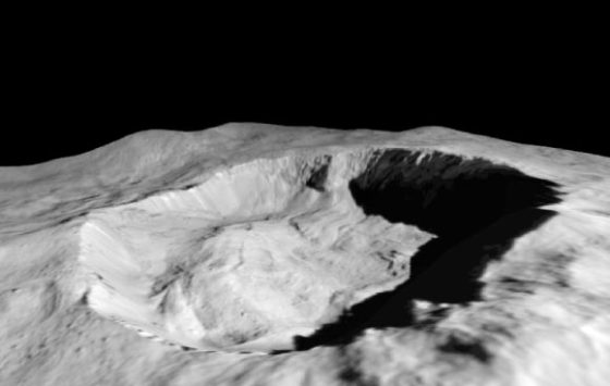 This view from NASA's Dawn orbiter shows where water ice has been detected in the northern wall of Ceres' Juling Crater. Dawn acquired the picture with its framing camera on August 30, 2016. Image credit: NASA / JPL-Caltech / UCLA / MPS / DLR / IDA / ASI / INAF.