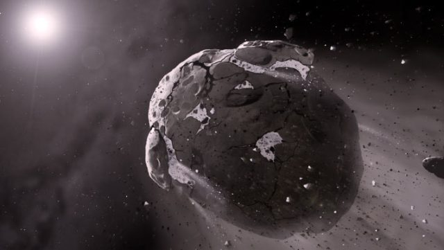 An artist's impression of a rocky asteroid. Image credit: Mark A. Garlick, Space-art.co.uk / University of Warwick / University of Cambridge.