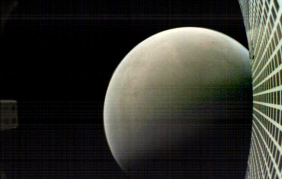 MarCO-B, one of the experimental MarCO CubeSats, took this image of Mars from about 4,700 miles (6,000 km) away during its flyby of the planet on November 26, 2018. MarCO-B was flying by Mars with its twin, MarCO-A, to attempt to serve as communications relays for NASA's InSight spacecraft as it landed on Mars. This image was taken at about 3:10 p.m. EST (12:10 p.m. PST) while MarCO-B was flying away from the planet after InSight landed. Image credit: NASA / JPL-Caltech.