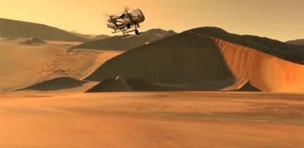 This illustration shows NASA's Dragonfly rotorcraft-lander approaching a site on Titan. Image credit: NASA / JHU-APL.