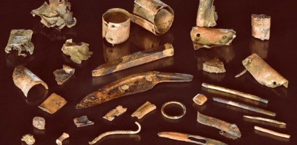 Photograph of the collection of bronze objects from the battlefield site in the Tollense Valley, Germany. Image credit: V. Minkus.