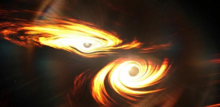 An artist's impression of binary black holes about to collide. Image credit: Mark Myers, ARC Centre of Excellence for Gravitational Wave Discovery (OzGrav), Australian National University.