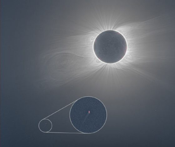 This composite image shows a total solar eclipse on December 14, 2020, based on 65 thumbnails taken by Andreas Möller of Arbeitskreis Meteore eV and edited by Jay Pasachoff and Roman Vanur.  Image credit: Andreas Möller, Arbeitskreis Meteore eV / Jay Pasachoff / Roman Vanur / Joy Ng.