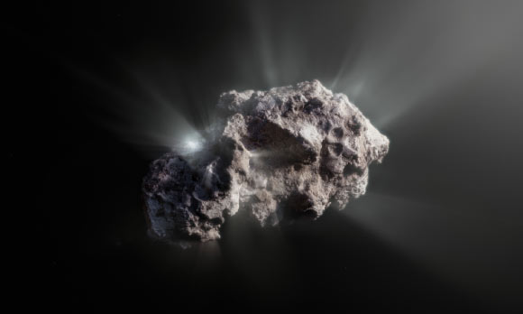 An artist's impression of what the surface of the interstellar comet 2I/Borisov might look like. Image credit: ESO / M. Kormesser.