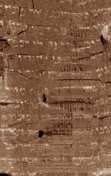 Scientists Decipher 1 500 Year Old Hebrew Scroll   Linguistics   Sci     Unwrapped texture image of the Ein Gedi scroll  showing letters of the Hebrew  alphabet