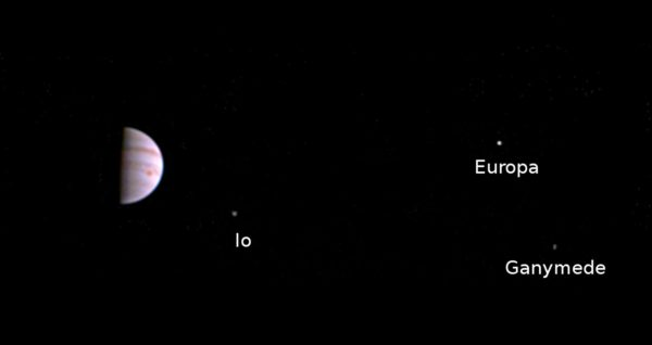 Juno Beams Back First InOrbit Images of Jupiter Galilean