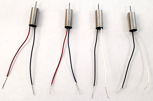 Four motors with insulation stripped off ends of wires