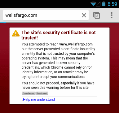 Android Chrome browser warning about SSL certificate