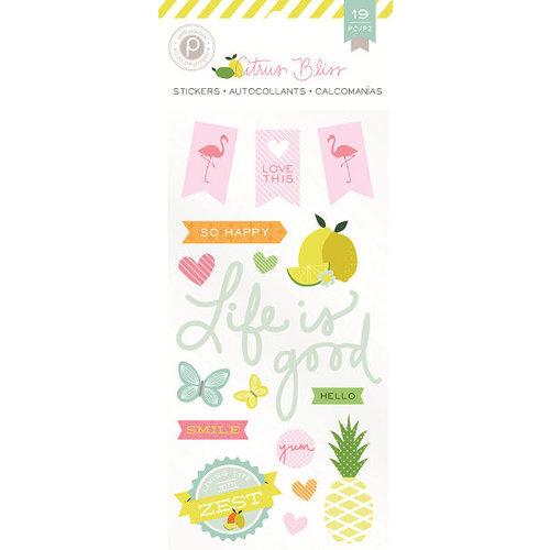 Pink Paislee - Citrus Bliss Collection - Puffy Stickers