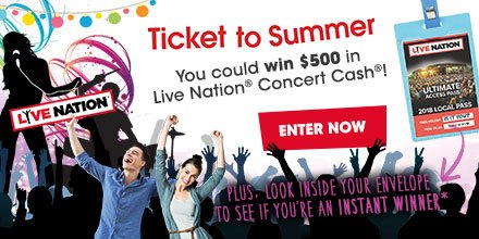 Enter to win Live Nation Concert Cash!