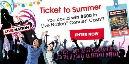 Enter to win Live Nation Concert Cash!