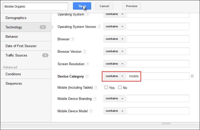 Screenshot of a custom segment including mobile and organic traffic.