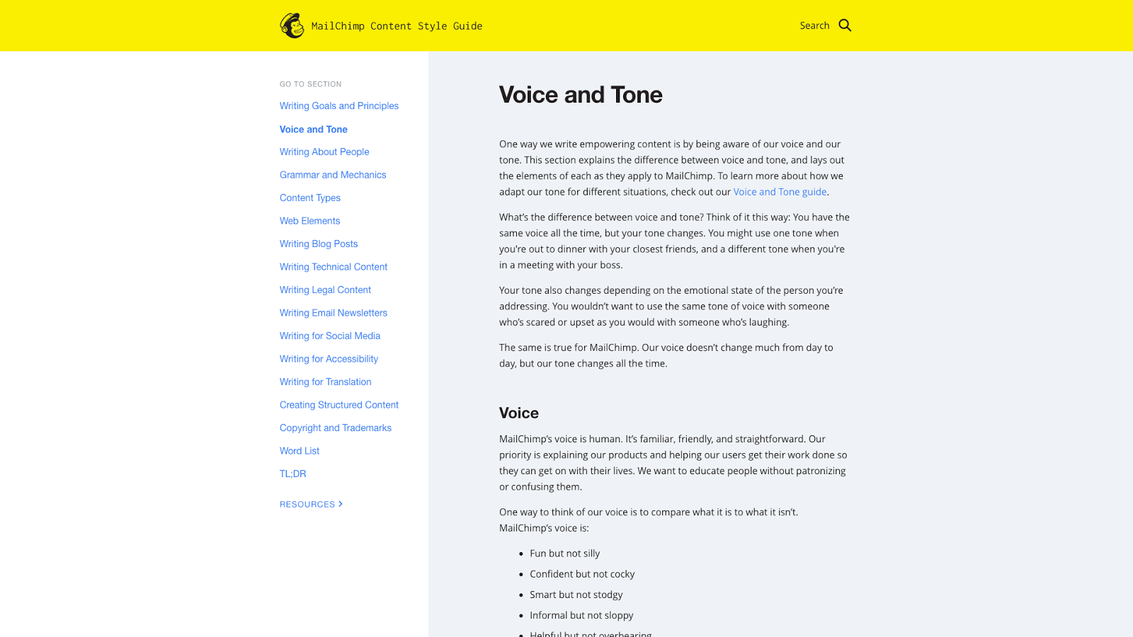 Mail Chimp's guidelines for voice and tone