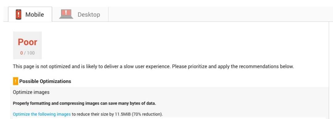 Google PageSpeed Insights Test