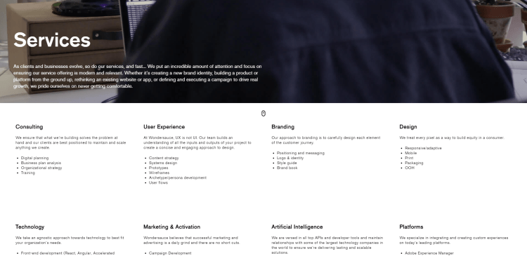 One page multiple services