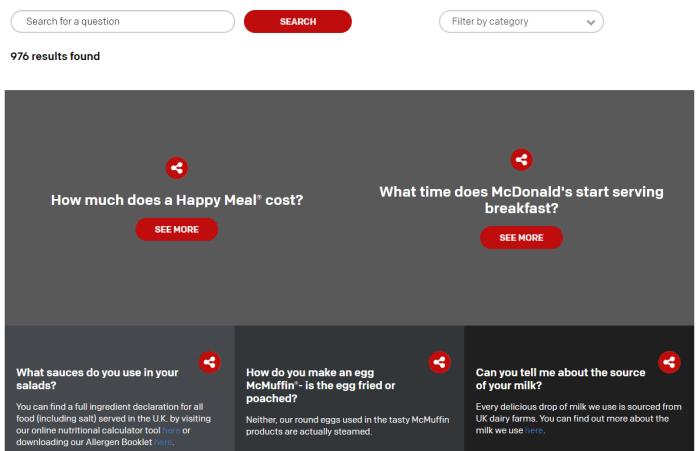 mcdonalds FAQ