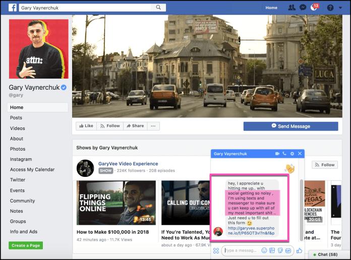 Gary Vaynerchuck Facebook Messenger Chatbot