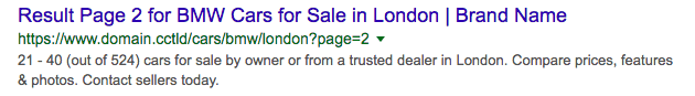 pagination page SERP