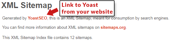 Screenshot of promotional link to Yoast from an XML site map the plugin generated.