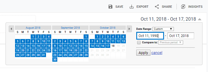 Date Picker in Google Analytics