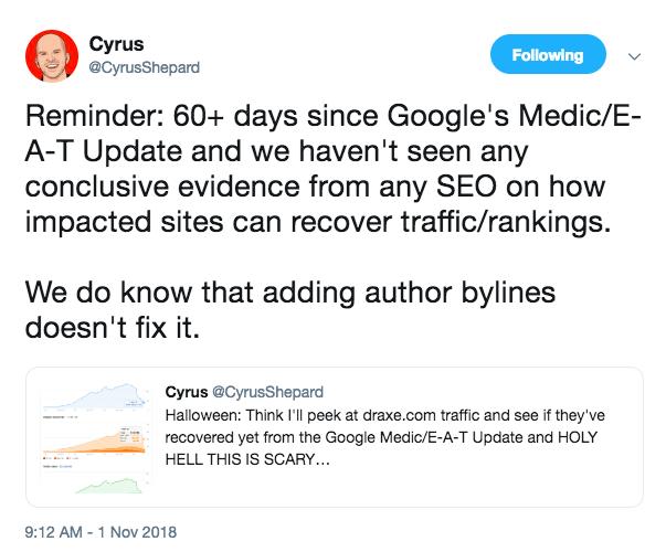 Cyrus Shepard medic update