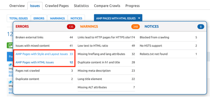 SEMrush Site Audit AMP Checking