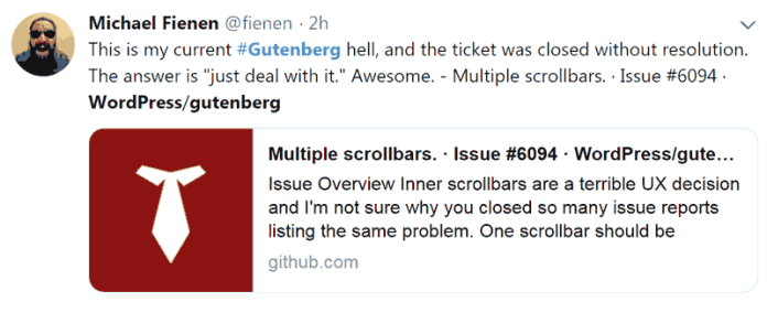 Screenshot of a tweet voicing dissatisfaction with bug resolution with WordPress 5