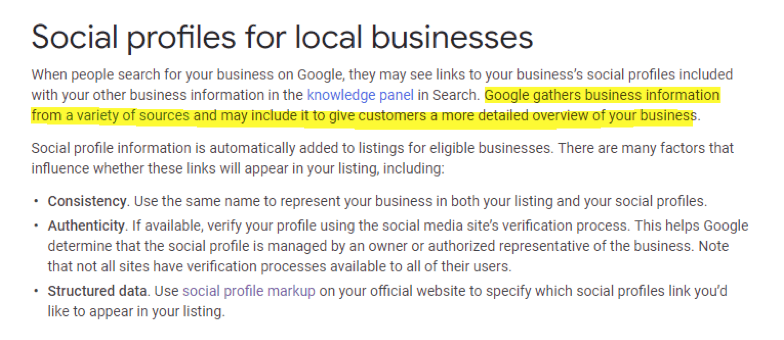 social profiles for local businesses