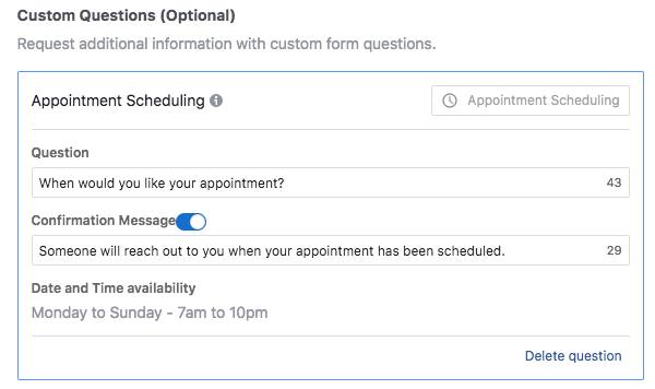 Facebook Lead Gen Ads - Appointment Scheduling