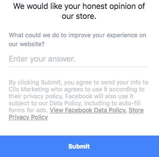 Facebook Lead Gen - Gathering Customer Feedback