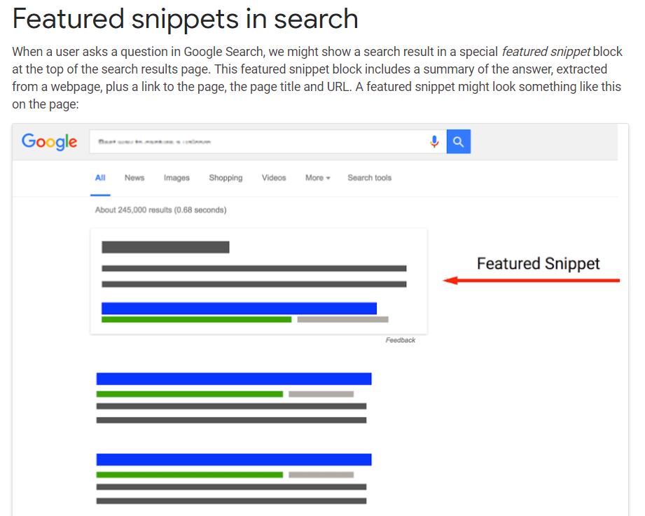 featured snippets screenshot