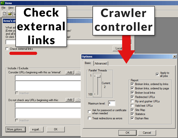 screenshot of Xenu link sleuth control panel