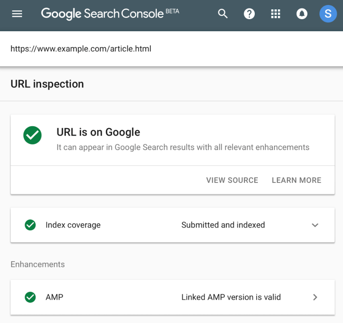 GSC URL Inspection tool
