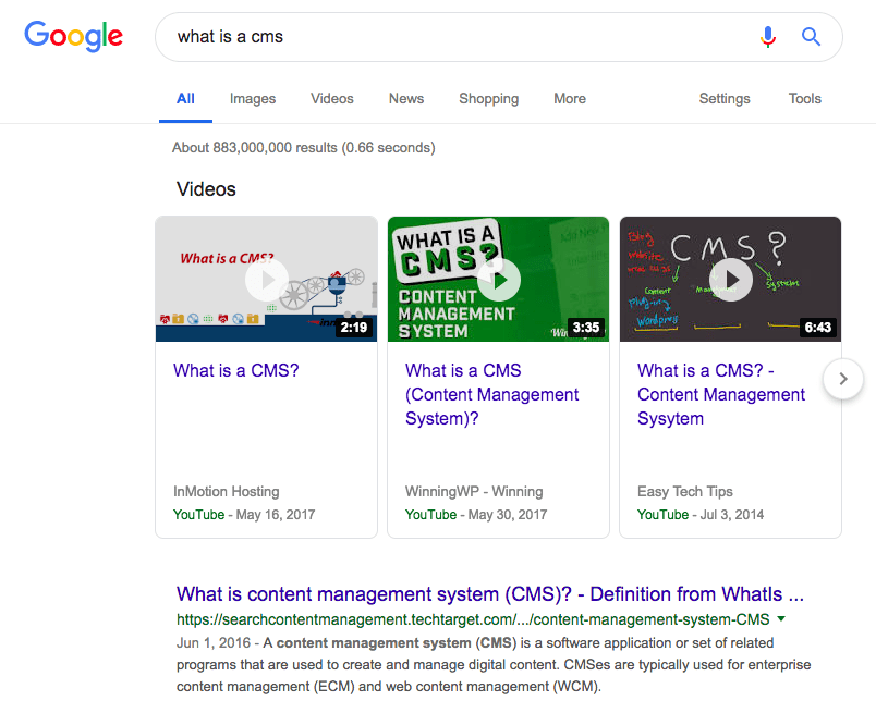 Top video results on Google